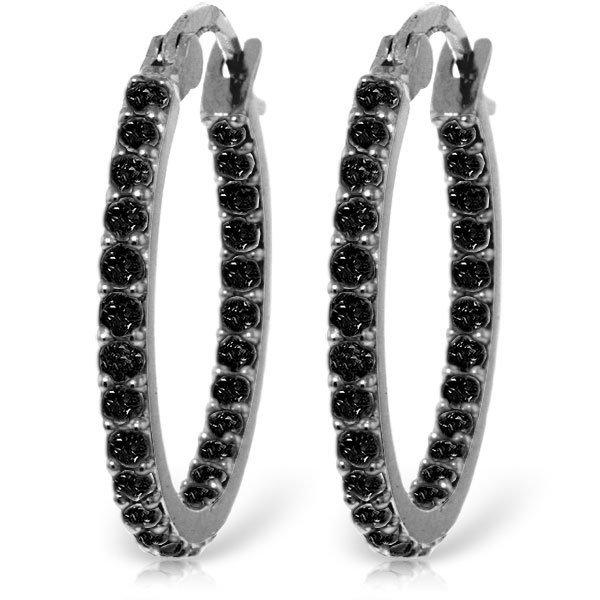 14k Solid Gold 0.81ct Black Diamond Hoop Earrings