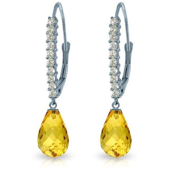 14k Solid Gold 4.50ct Citrine & Diamond Earrings
