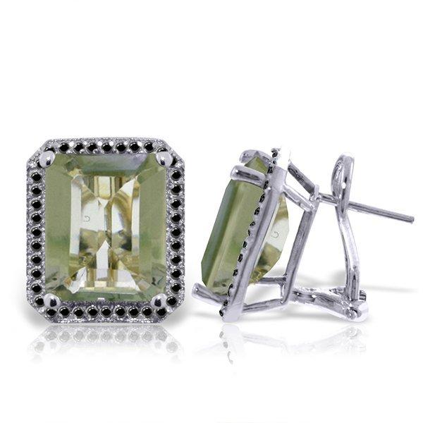 14k WG Green Amethyst & Black Diamond French Clip