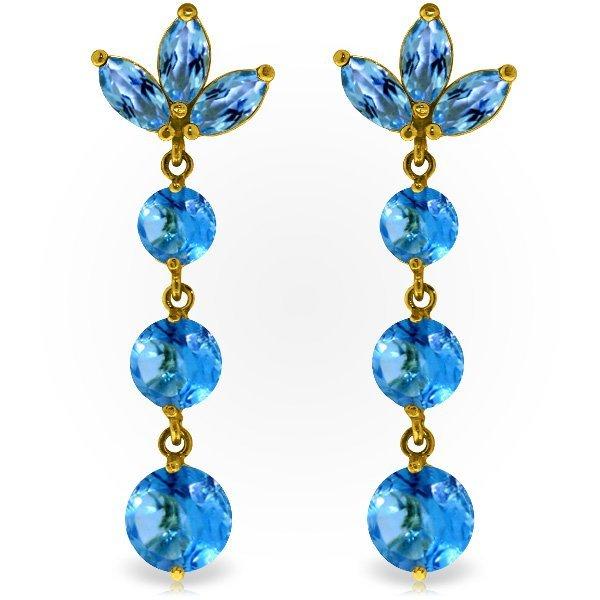 14k Yellow Gold Blue Topaz Chandelier Earrings