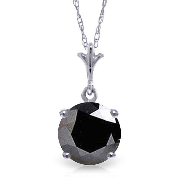 14k WG 1.0ct Black Diamond Solitaire Necklace