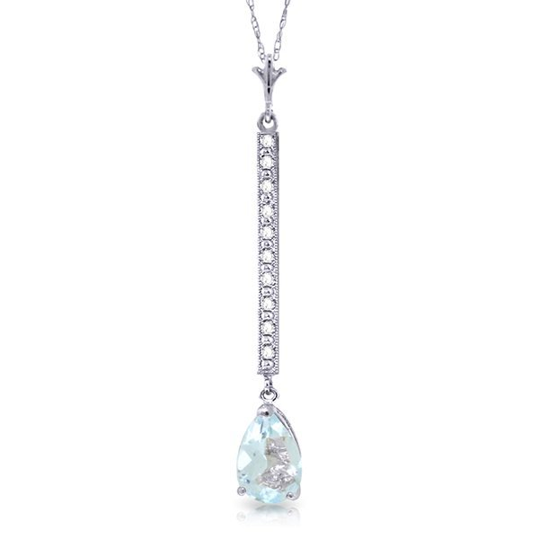 14k Solid Gold 1.75ct Aquamarine & Diamond Necklace