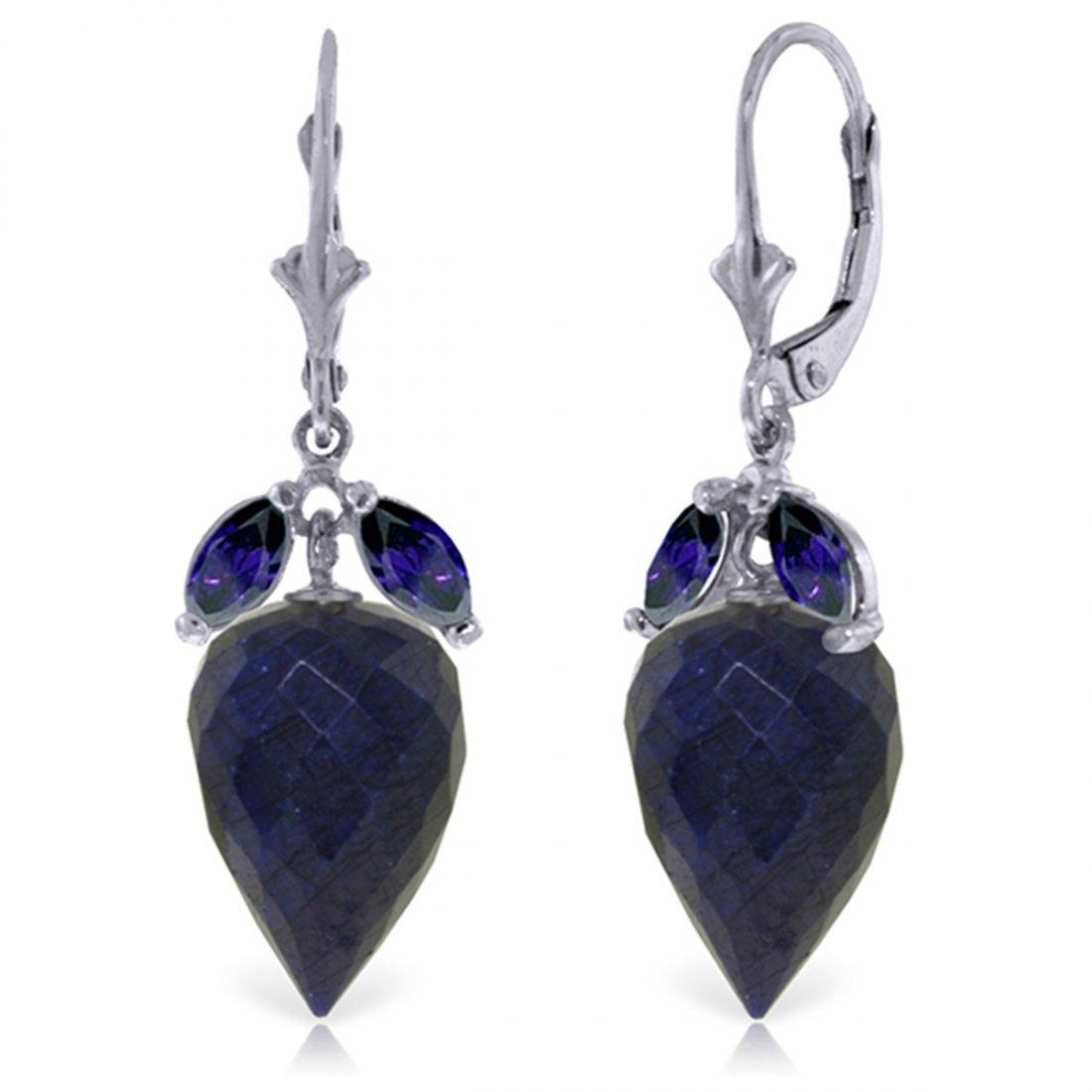 14k White Gold Sapphire Briolette Dangle Earrings
