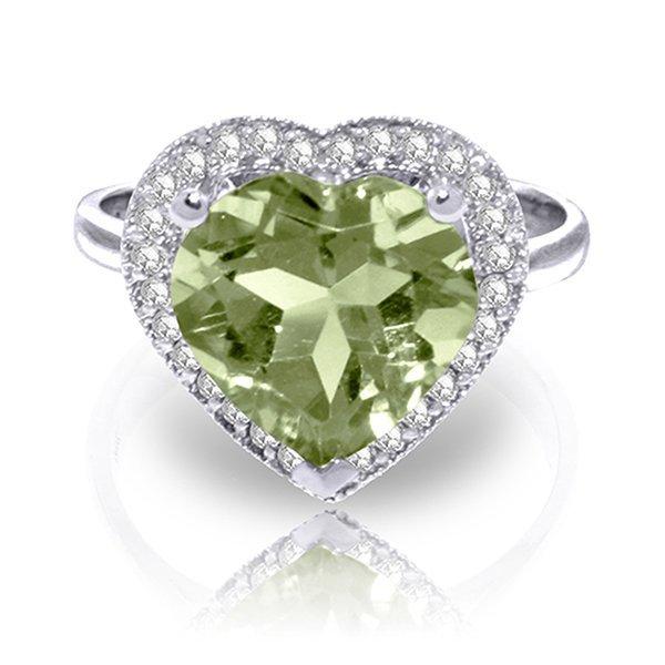 3.24ct 14k White Gold Ring Diamond  Green Amethyst