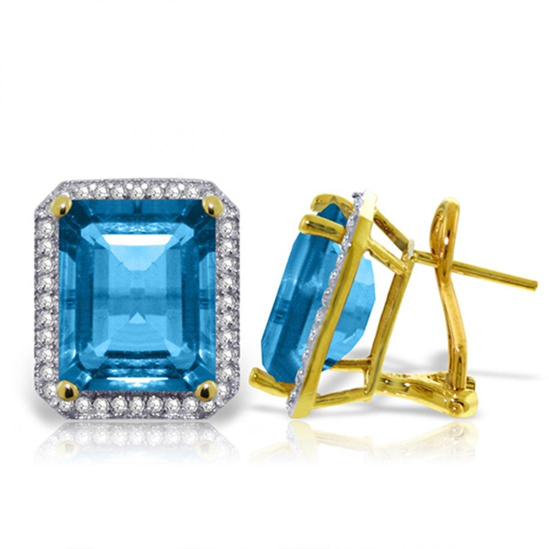 15.6ct 14k Solid  Gold Blue Topaz Diamond Earrings
