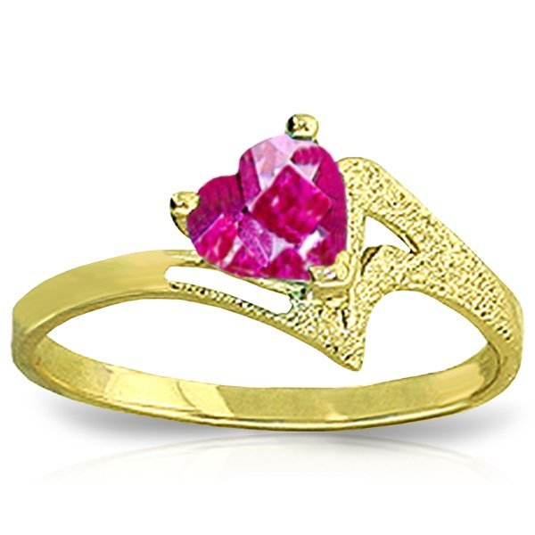 0.95ct Heart Pink Topaz Ring in 14k Yellow Gold