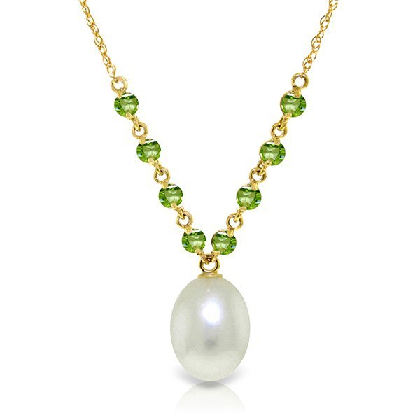 14k Yellow Gold Peridots & Pearl Necklace