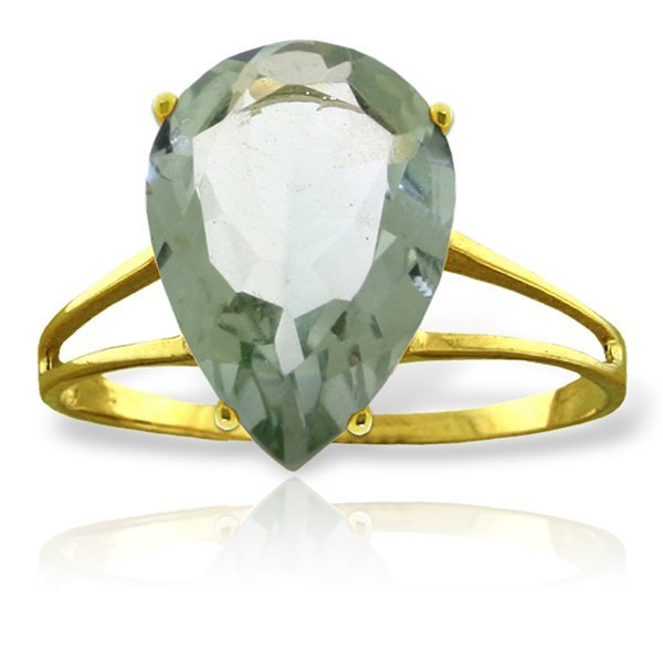 14k Solid Gold 5.0ct Green Amethyst Cocktail Ring