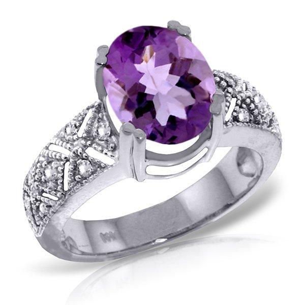 14k White Gold 3.0ct Amethyst & Diamond Ring