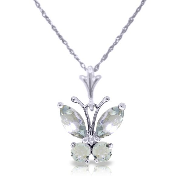 14k WG .40ct & .20ct Aquamarine Butterfly Necklace