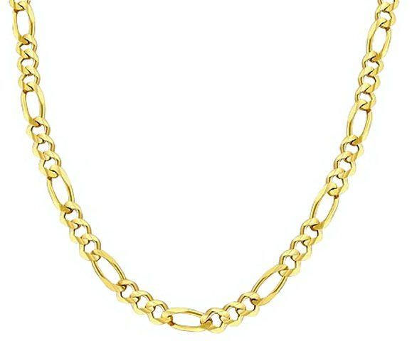 """20"""" 14k Solid Gold Figaro Chain 3.10mm wide"""