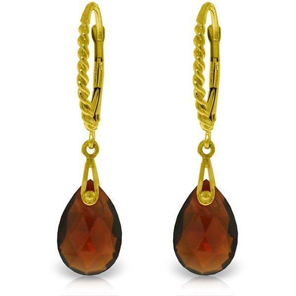 14k Solid Gold 6.0ct Garnet Earrings