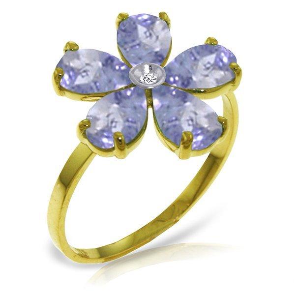 14k YG Tanzanite with Diamond Flower Ring