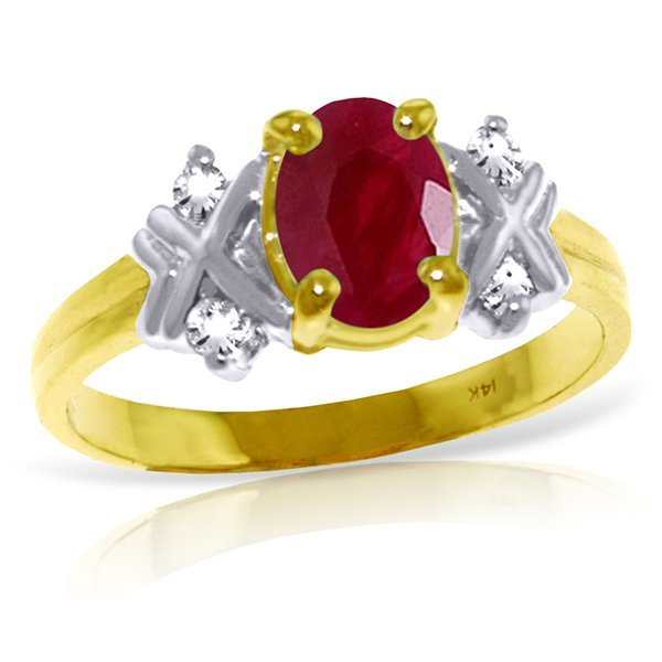 1.35ct Ruby Diamond Ring with Diamonds in 14k Gold