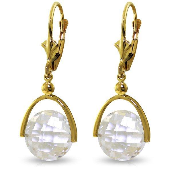 14k Solid Gold 7.50ct White Topaz Earrings