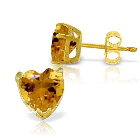 14k YELLOW GOLD 3.25ct Citrine Heart Stud Earrings