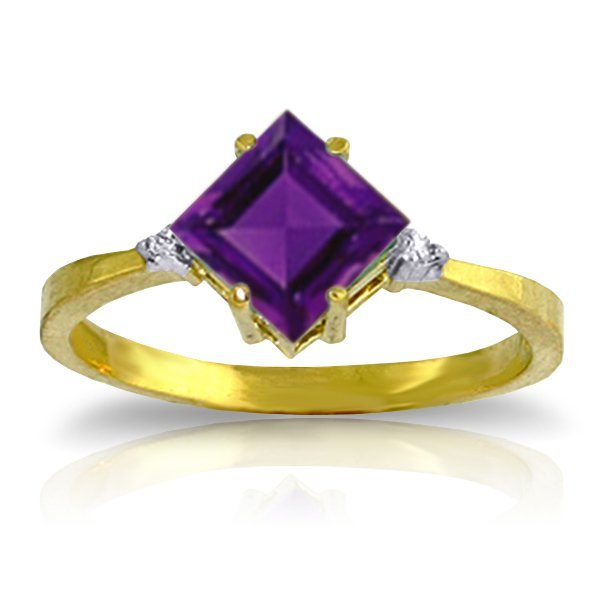 14K YG DIAMONDS & 1.75ct SQUARE AMETHYST RING
