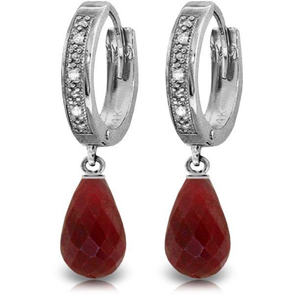 14k WG 6.60ct Ruby & Diamond Hoop Earrings