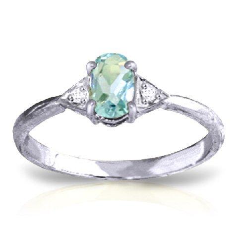 14k WG 0.45ct Aquamarine & Diamond Ring
