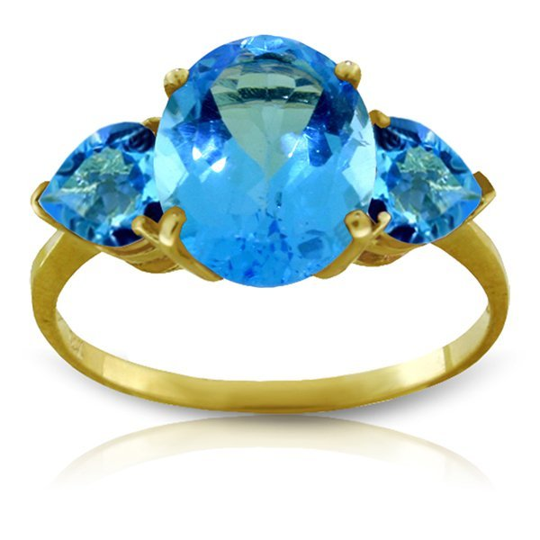 14K YELLOW GOLD 3.20ct NATURAL BLUE TOPAZ RING