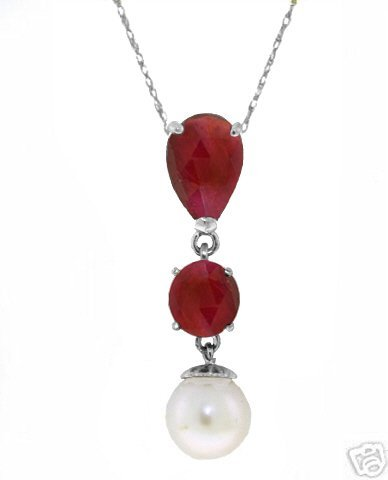 14k White Gold Ruby and Pearl Necklace