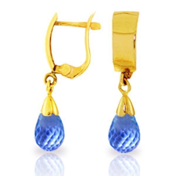 2.50ct Briolette Blue Topaz Earrings in 14k YELLOW GOLD