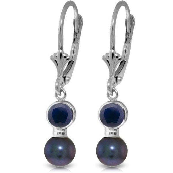 14k WG 1.20ct Bezel set Sapphire & Pearl Earrings