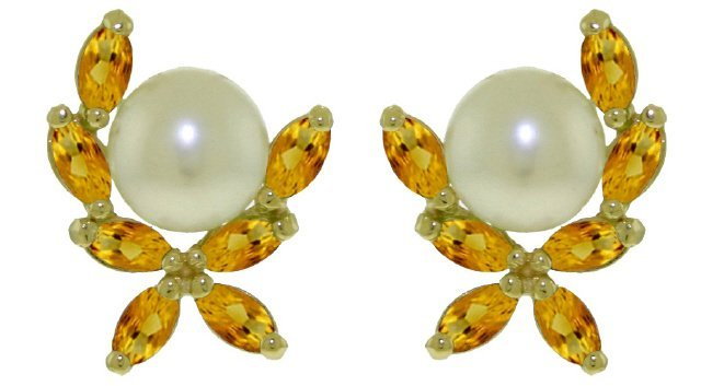 14k Gold Freshwater Pearl Earrings with Citrines