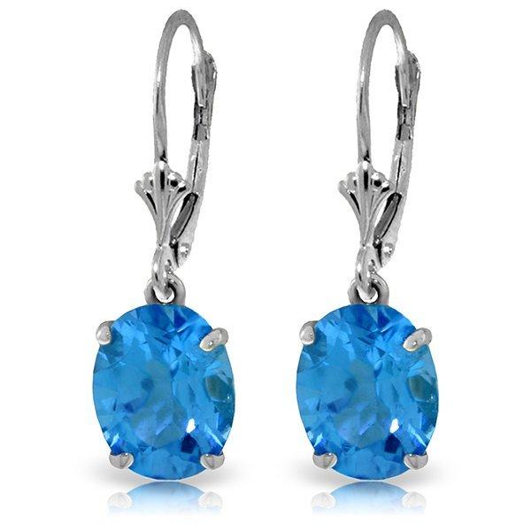 6.25ct Blue Topaz Oval Dangle Earrings in 14k WG