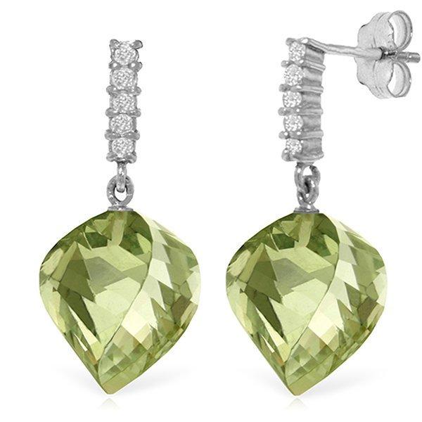 26.00ct Green Amethyst and Diamond Earrings in 14k Gold