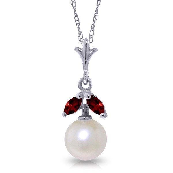 14k Solid Gold 0.20ct Garnet & Pearl Necklace