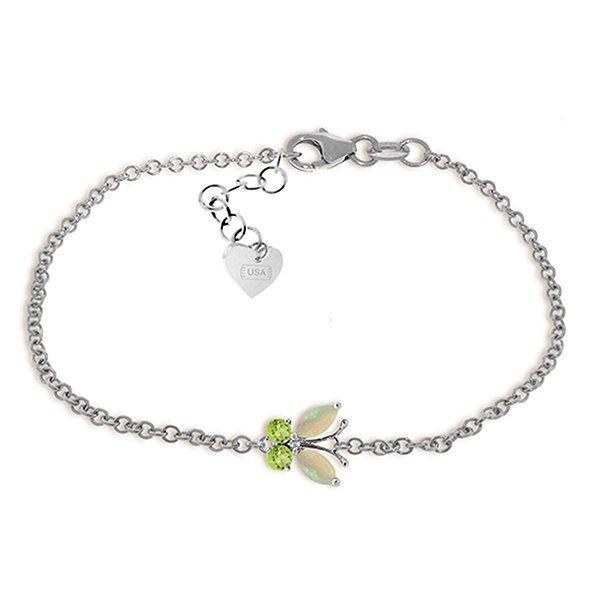 0.6ct 14k White Gold Flutter Opal Peridot Bracelet