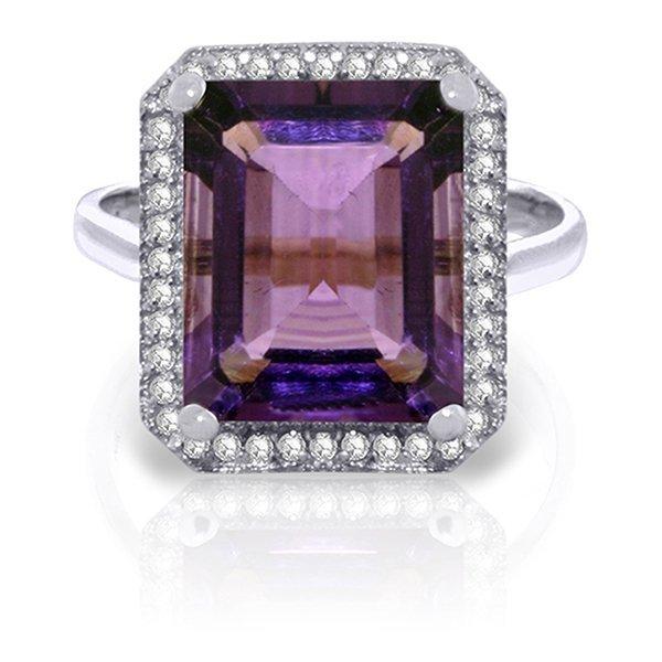 5.8ct 14k White Gold Amethyst Diamond Ring