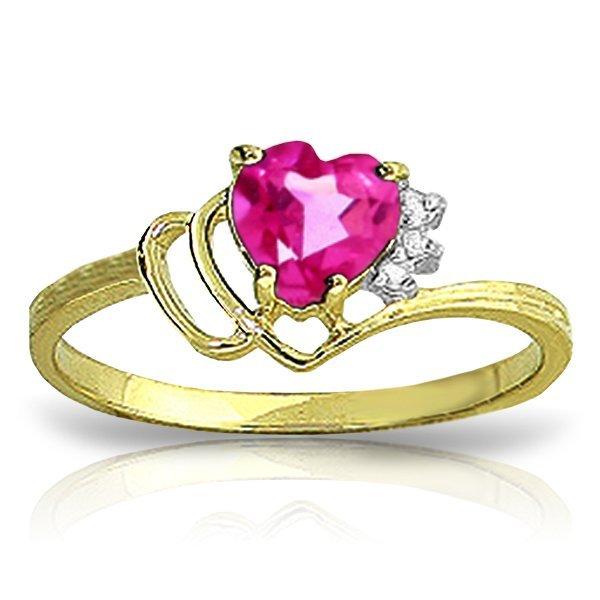 14k Solid Gold 0.95ct Pink Topaz & Diamond Ring