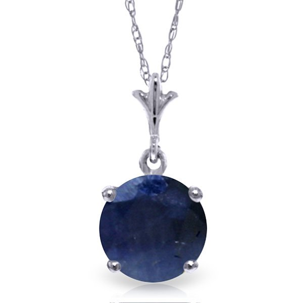 14k White Gold 1.65ct Sapphire Solitaire Necklace