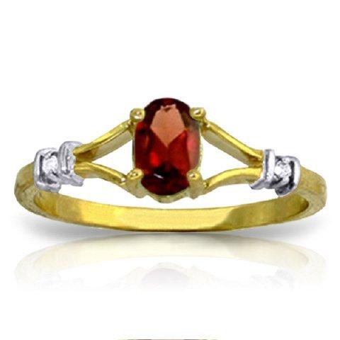 14k Solid Gold 0.45ct Garnet & Diamond Ring