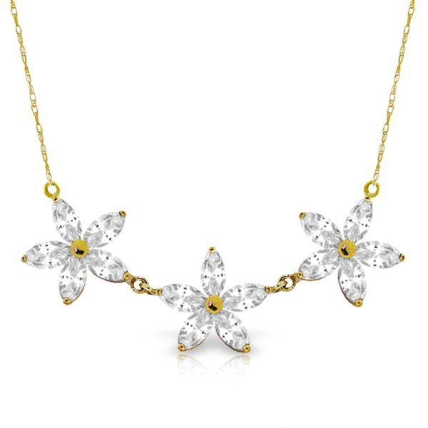 4.75ct 14k Solid  Gold Necklace Natural White Topaz