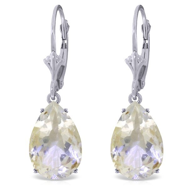 14k Solid Gold 10.0ct White Topaz Drop Earrings