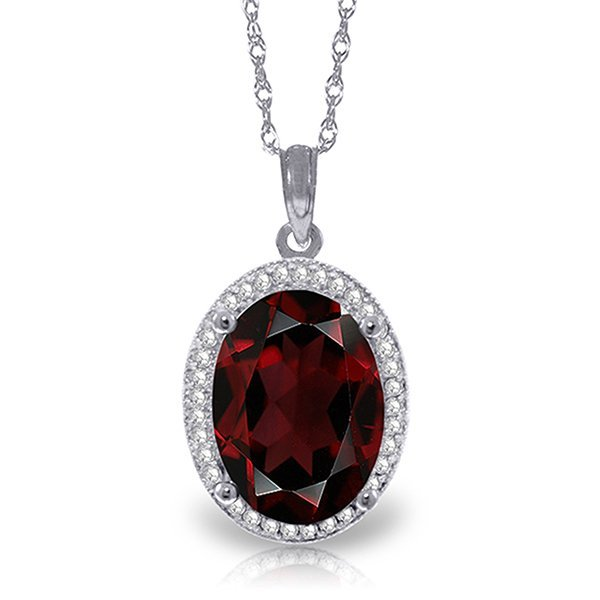 14k Solid Gold 6.05ct Garnet & Diamond Necklace