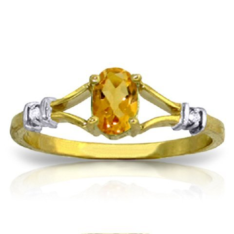 14k Solid Gold 0.45ct Citrine & Diamond Ring