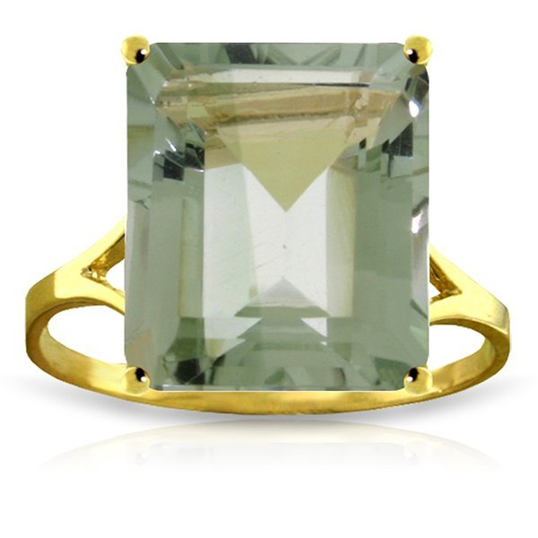 14k Solid Gold 6.50ct Green Amethyst Ring