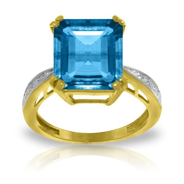 14k Gold Octagon Blue Topaz Ring with Diamonds