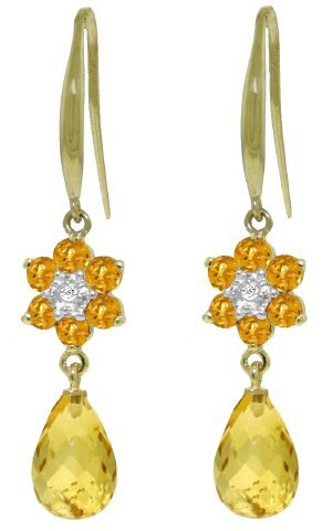 14k Flower with Citrine and Diamond Earrings