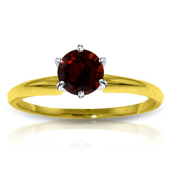 14k Solid Gold 0.65ct Garnet Solitaire Ring