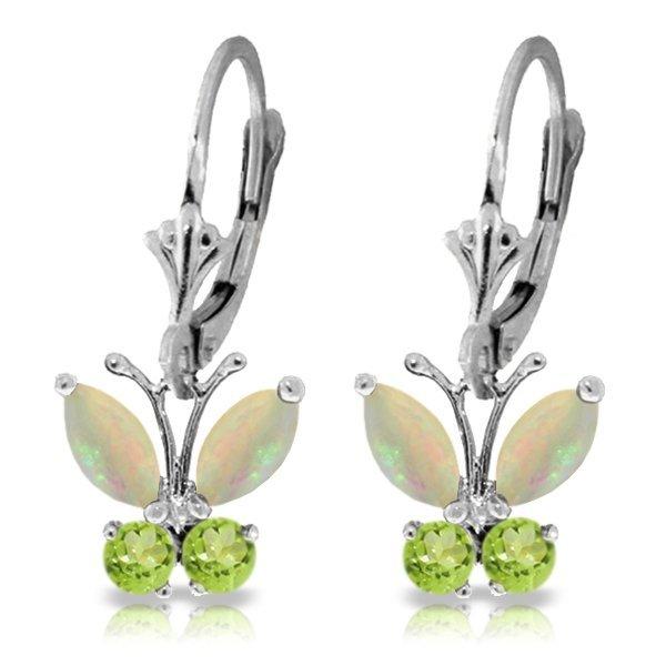 14k WG 1.00ct Opal and .39ct Peridot Butterfly Earrings
