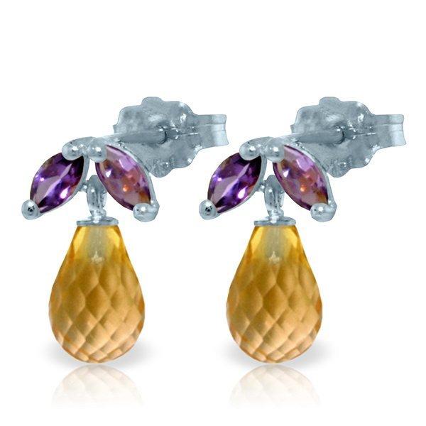 14k Solid Gold Citrine & Amethyst Earrings