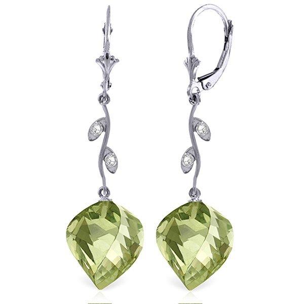 14k Elegant 26.0ct Green Amethyst & Diamond Earrings