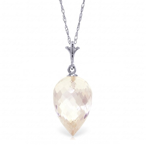 14k WG 11.25ct White Topaz Briolette Necklace