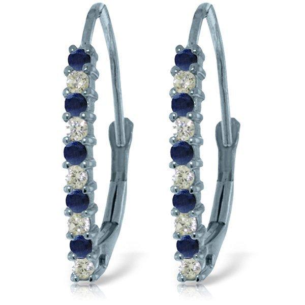 14k Solid Gold Sapphire & Diamond Earrings