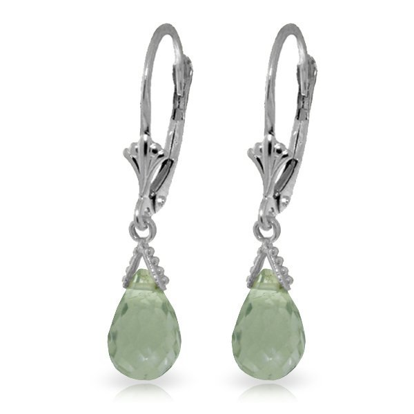 14k WG 5.00ct Green Amethyst Briolette Petite Earrings